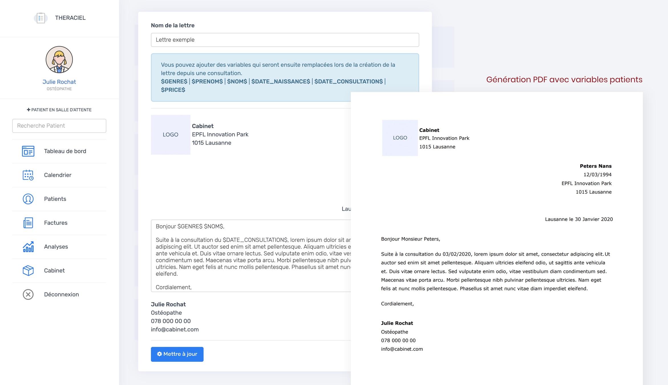 Génération de Document / Lettre | THERACIEL
