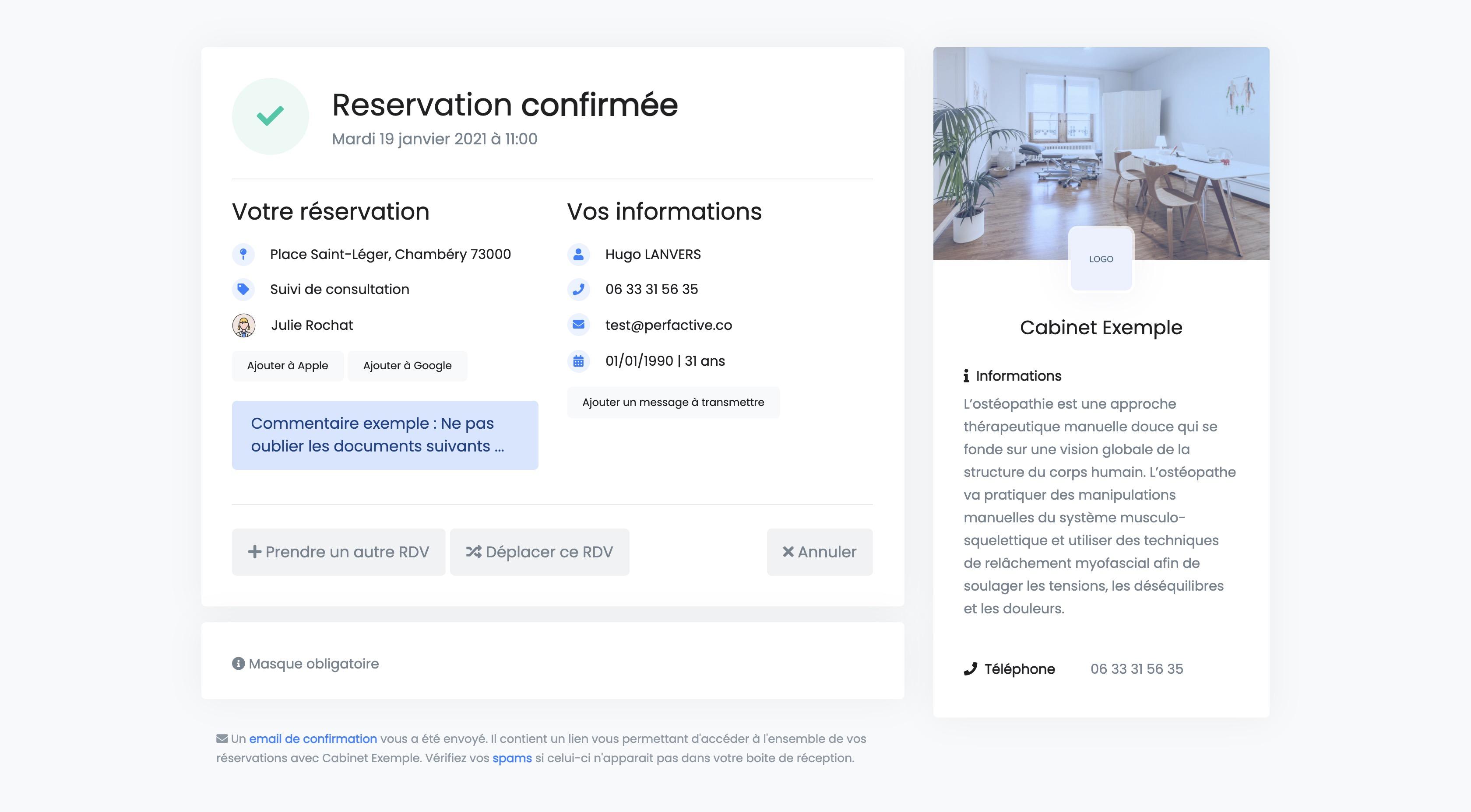 Réservation en ligne | Confirmation | THERACIEL